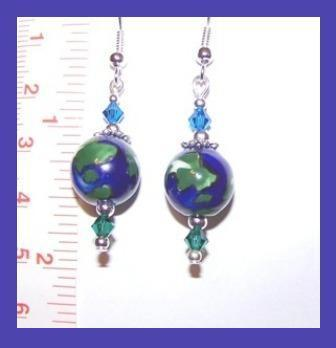 Planet Earth & Swarovski Crystal Earrings