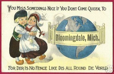 BLOOMINGDALE MICHIGAN Dutch Boy Girl Globe MI 1914