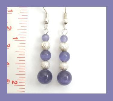Blueberry Cat Eye & Carved Stardust Beaded Earrings
