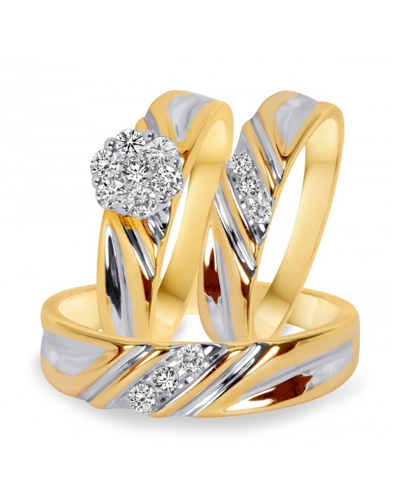 14k Gold Plated 925 Silver Men's & Women's Trio Engagement Ring Set Round Cut CZ