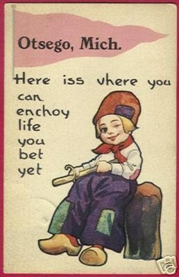 OTSEGO MICHIGAN Pennant Dutch Boy 1914 MI Postcard