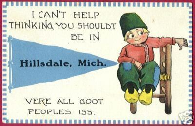 HILLSDALE MICHIGAN Pennant Dutch Boy 1913 MI Postcard