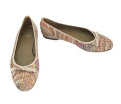 Stuart Weizman Pale Paisley Fabric & Beige Leather Ballet Flat Shoe size... - $38.00