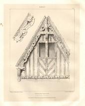 1831 PUGIN'S ORNAMENTAL GABLES PRINT/PLATE ~ RUE DES LINGUE ABBEYVILLE F... - $78.28