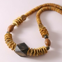 """Vintage Vtg Chunky Wood Beaded Ethnic Carved Necklace 25"""" - $12.87"""