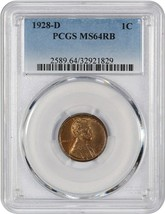 1928-D 1c PCGS MS64 RB - Lincoln Cent - $140.65