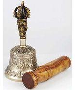 BRONZE TIBETAN HAND BELL with  PUJA STICK - $31.99