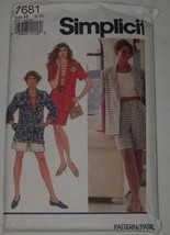 Simplicity Sewing Pattern 7681 Misses Jacket Shorts Skirt Size H 6-10 Uncut - $8.90