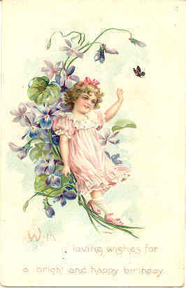A Bright and Happy Birthday 1908 Post Card