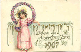 Wishing A Happy New Year 1907 Vintage Post Card - $6.00