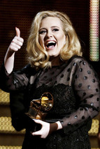 Adele Thumbs Up Holding Grammy 18x24 Poster - $23.99