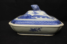 "MINT Antique 1800's Chinese Export CANTON Blue 10"" Covered Vegetable Dis... - $229.99"