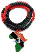 África Mapa Ankh Collar Colgante Con 81.3cm Largo Cuentas Madera Estilo ... - $17.42