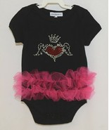 Doomagic Black One Piece Pink Tutu Red Heart Crown Wings Size 12 to 24 M... - $20.00