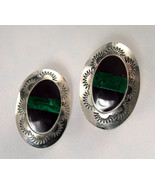 Earrings - Mexico 925 Sterling Silver Malachite Post  - $30.00
