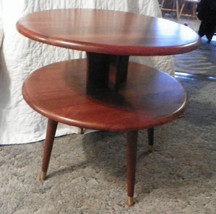 Round Solid Walnut 2 Tier Table Parlor Table - $190.68