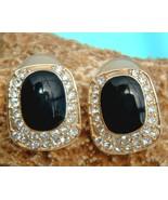 Vintage Signed Roman Earrings Rhinestones Black Glass Stone Pierced - $22.95