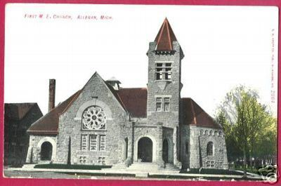 ALLEGAN MICHIGAN First M E Church 1908 MI