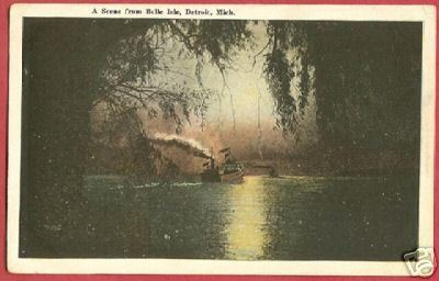 Primary image for DETROIT MICHIGAN Ships Belle Isle 1920 MI Postcard