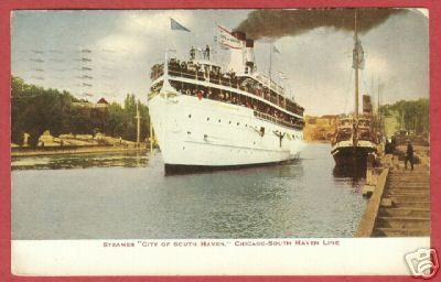 STEAMER CITY OF SOUTH HAVEN Chicago Ship Dock 1912 BJs