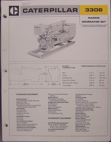 Primary image for 1976 Caterpillar 3306 Marine Generator Set Brochure