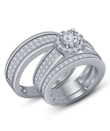His And Her Diamond Trio Set 10K Solid White Gold Plated Wedding Engagem... - $156.22