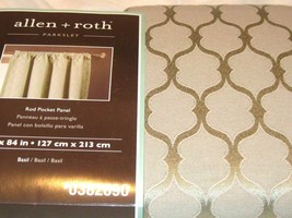 Allen + Roth Parksley Basil Drape Curtain Rod Pocket Panel 84L NIP - $26.62