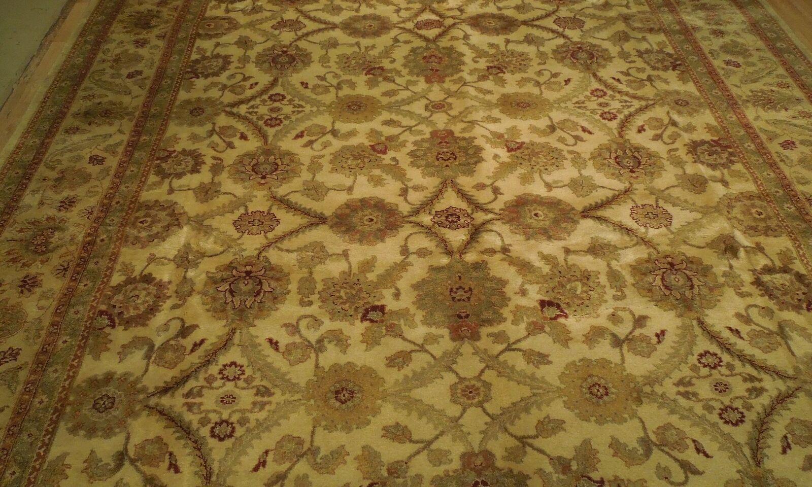 New Smooth Wool Authentic Handmade 10' x 14' Beige Jaipur Wool Rug image 10