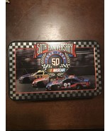 """Two Decks Playing Cards """"50th Anniversary"""" NASCAR by USPC USA 1998 in Tin - $4.94"""