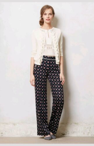 Primary image for New Anthropologie Foulard Novelty Wide-leg Pants by Elevenses BLUE MOTIF Size 6T