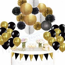 Black Gold White Party Decorations Tissue Paper Pom Pom Honeycomb Ball a... - ₨2,267.02 INR+