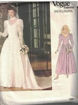 1092 Vogue Couture Motif Femmes Mariage Robe Demoiselles D'Honneur 12 1980s - $17.98