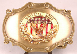 RAINTREE Brass Belt Buckle-WHITETAIL BUCK-1978-Stars & Stripes-Deer-Vtg - $37.39