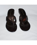 Fabulaire Brown Sandals Kitten Heel Shoes 6 1/2 Bianca - $12.00
