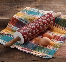 NEW! THE PIONEER WOMAN ROLLING PIN BURGUNDY AUTUMN HARVEST FALL FLORAL RARE - $128.79