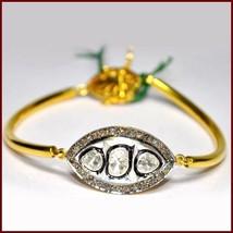 925 Silver Handmade Vintage 0.62Ct Rose Cut Round Diamond Polky Bracelet... - $425.13