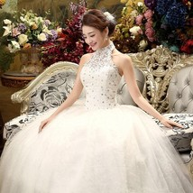 fHalter Lace Vintage Ball Gown Wedding Dress - $59.99