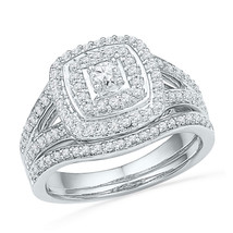 10kt White Gold Round Diamond Bridal Wedding Engagement Ring Band Set 5/8 Ctw - $899.00