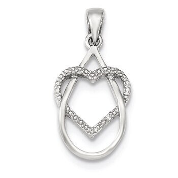 Primary image for Lex & Lu Sterling Silver Polished CZ Heart Pendant LAL11434