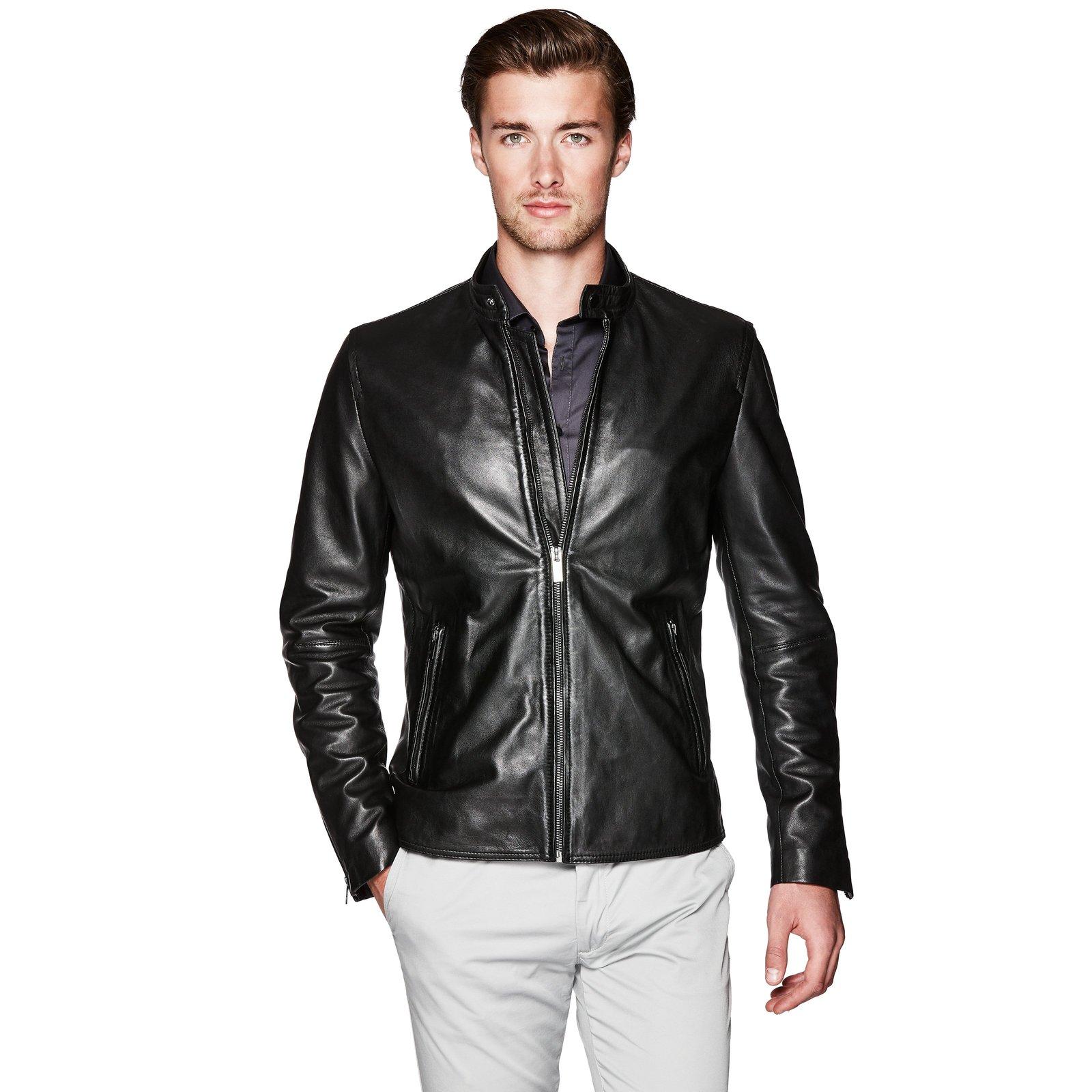 Men Leather Motorcycle Summer Jacket