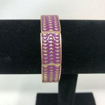 Lia Sophia Purple Gold Tone Chevron Stretch Bracelet Rhythmic - $11.87