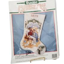 Bucilla Christmas O Holy Night Diagonal Counted Cross Stitch Stocking Vtg Opened - $19.80