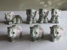 Homco Home Interiors Porcelain Baby Gray Elephant Figurines #1400 Lot of 7 EUC - $39.99