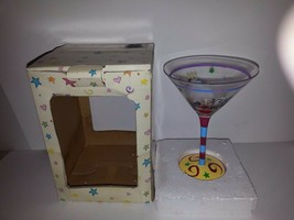HANDPAINTED HAPPY BIRTHDAY-10 oz. MARTINI GLASS-MULTICOLORED-NEW IN BOX - $13.95