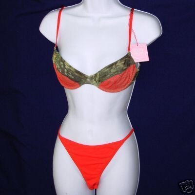Primary image for New 6IXTY 8IGHT set 68 36A camo Underwire Bra LG Bikini Panties red L 36A