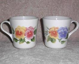Corelle Mugs Summer Blush Pansy Corning Ware Set 2 Coffee Tea - $15.00