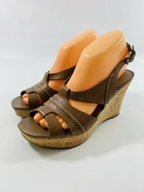 Franco Sarto Cadmus Womens size 8 M Brown Sling Back Wedge Cork Heel Shoes - $21.92