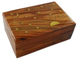 "Sun, Moon And Stars Box - Brass Inlay - 4"" X 6"" - $16.99"