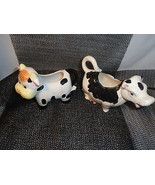 2 Black and White China Cow Creamers - $4.99