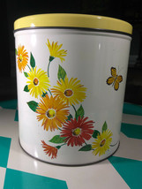 Darling Vintage Tuttle Corporation Sweet Floral Graphic Tin Cannister - $18.00
